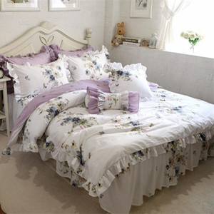 New pastoral bedding set flower print ruffle duvet cover quality fabric bed sheet bedspread elegant skirt bed clothes textile