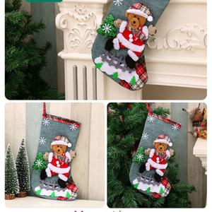 100pcs Hot Sale Linen Large Christmas Stocking Christmas Ornaments Christmas Gift Bag Gift Bag