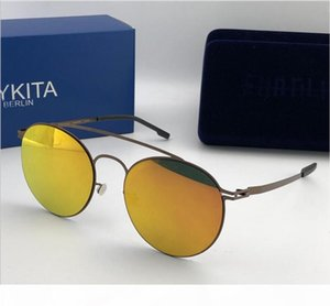 Wholesale-new mykita sunglasses ultralight frame without screws MKT MMESSE round frame top men sunglasses coating mirror lens