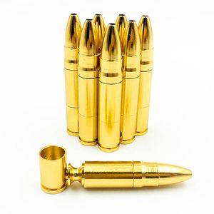 Luxury Golden-Metallpfeife Kreative Aluminiumlegierung 78mm Kugelrohr Tragbarer Abnehmbare Praktisches Raucherzubehörs