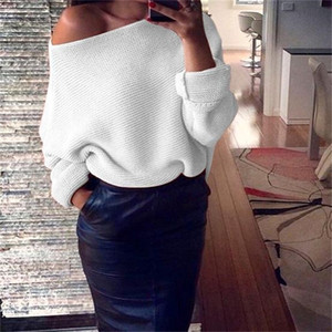 2019 Fashion beautiful Off Shoulder Women Sweaters Ladies Jumper Slash Neck Long Sleeve Pullover Loose Casual Knitwear