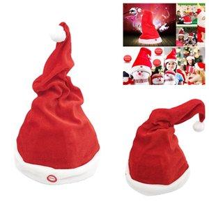 Electric Christmas Sombrero Rojo Peluche Santa Cap Música Bailar Bailar Swing Eléctrico Sombrero de Navidad 2021 Regalo de Año Nuevo T2I51610