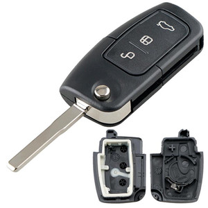 Черный 3 кнопки автомобиля Брелок Дело Shell Обложка Protector Замена с Hu101 лезвия Флип Складные дистанционного Обложка приспособленное для Ford Focus Key _214