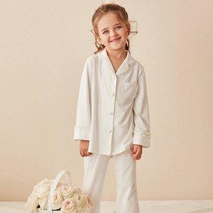 أطفال بنات لوليتا طوق بيجامة Sets.cotton بلايز + pants.toddler الاطفال الرباط البيجامة Set.girl ملابس تنحيف