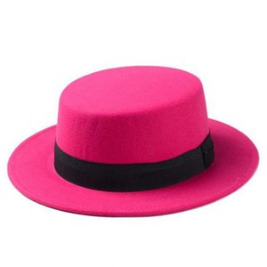 Brand New Wool Boater Flat Top Hat For Women Felt Wide Brim Fedora Hat Laday Prok Pie Chapeu de Feltro Bowler Gambler Top