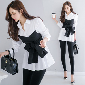 DEAR new spring fashion korean girl's shirt turn-down collar bow waist patchwork fake two pieces girl's blouse WE10301L 201016