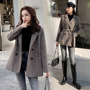 Karolyidora Houndstooth Coat Hoisted Woolen Women 2021 Invierno Moda Nuevo producto Coreano grueso popular traje de lana