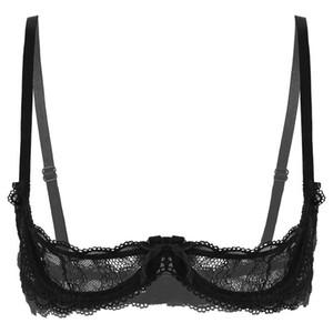 Femmes dentelle Sous-vêtements Soutien-gorge sexy exotique bretelles spaghetti seins nus exposés Shelf Tie 1/4 Open Cup push Tops Up Underwire Bra