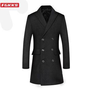 FGKKS Marca Men Moda mistura de lã Brasão Homens Magro Luxurious Wool Overcoat Negócios Casual Casaco Double Breasted Longo Masculino