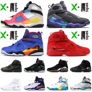 Top Moda 2020 Jumpman 8 8s Mens cetimJordâniaSapatos Retro Basketball SE Branco Multicolor Doernbecher aqua Formadores Sneakers