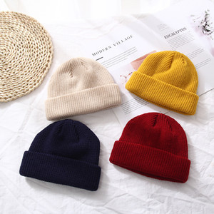Шапочки зимние шапки вязаные сплошные милые шляпы девушки осень женские шапки шапки теплые капот дамы повседневная крышка для женщины