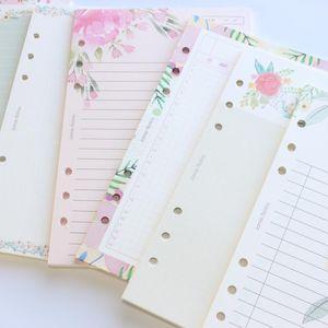 Notepads Domikee Mignon Dessin animé Fleur Design 6 trous School Binder Spirale Notebooks Remplacement Papiers intérieurs Core Papeterie, 6 Types, A5A6