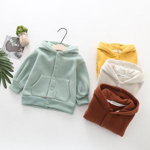 Keaiyouhuo Kış Ceket Erkek ve Kız Ceket Kadife Kapüşonlu Bebek Kazak Katı Renk Hırka Ceket Giysileri Erkek Ceketler Için 5Y