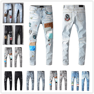 2021 Hot Mens Fashion Skinny Dritto Slim Slim Jeans Strappato Uomo Moda Mens Street Wear Moto Moto Biker Jean Pantaloni Jeans Dimensione 28-40