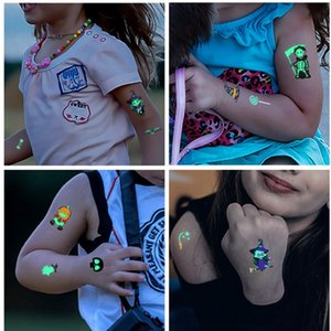 Christmas Tattoo Sticker Body Art Fluorescent Luminous Waterproof Temporary Tattoo Sticker Halloween Decal Kids Tattoo Party Favors E92703