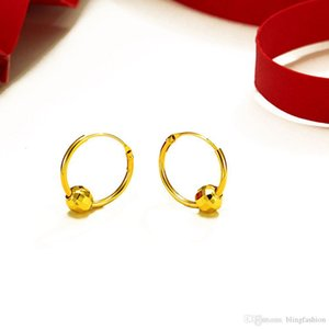 I più nuovi orecchini rotondi del cerchio con perline disegno 18K oro giallo riempito monili classici delle donne Orecchini a cerchio Femal regalo