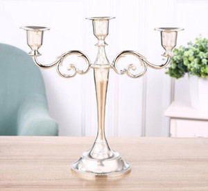 Gold Silver Candle Holder Candelabra Centerpiece for Wedding Candlestick 3-arms Candle Stand Wedding Event Candle Stick DHC2975
