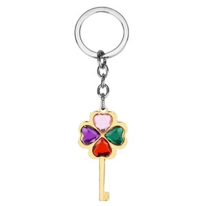 Dongsheng High Quality Keychain Fashion Creative Beautiful Four Leaf Clover Steel Lucky Key Chain Jewelry -50