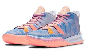 최고의 키즈 Kyrie 7 표현 남성 여성 농구 신발 상자 2020 irvings 7 녹색 핑크 퍼플 트레이너 운동화 크기 4-12