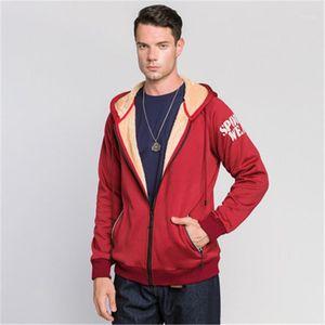 Winter Outerwear Man Letter Fleece Sweatshirt Fashion Solid Color Zipper Cardigan Warm Hooded Coats Designer Male Casual Long Sleeve