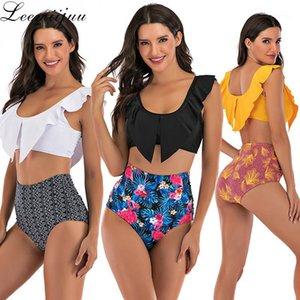 Leemiijuu Çiçek Ruffled Hem Bikini Set Kadın V Yaka Mayo Büyük Boy Plaj Mayo Yüksek Bel İki Parçalı Mayo Biquinis1