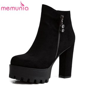MEMUNIA 2020 big size 43 high heels platform boots ladies casual party shoes round toe zip autumn winter ankle boots women