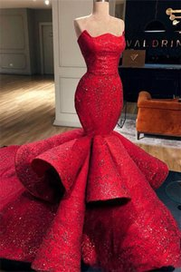 Romantic Red Mermaid Sweetheart Satin Formal Evening Dresses Lace Sequins Long Prom Dresses Pageant Gowns 2021 New robes de soiree