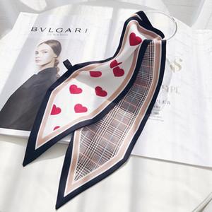 Helle 2020 Neue Tasche Schal Rot Herz Liebe Plaid Print Frauen Seide Kleine Tasche Band Weibliche Haarband Handtasche Tuch