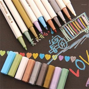 10pcs lot Korean highlighters Kawaii 10 colors crayon marker pens office material escolar school supplies canetas Drop Shipping1