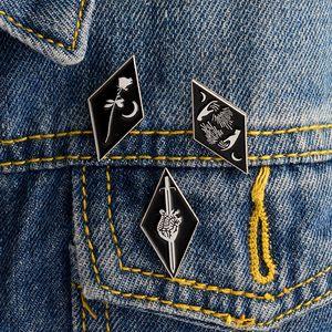 3pcs set Knife Hand Rose Moon Sword Heart Gothic Enamel Pins Badge Denim Jacket Gifts Brooches Women Men