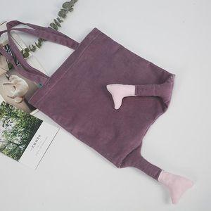 Women Fashion Corduroy Shoulder Bag Large Capacity Female Big Tote Handbag Folding Reusable Shopping Bags Strap Bags Designer