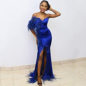 Feather Royal Blue Evening Dresses Arabic Mermaid Party Gowns Dubai Long Prom Gowns women Formal DressTurkish 2020 Vestidos