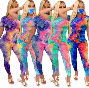 Womens 2 Piece Set Tracksuits With Face Mask Fashion Tie-dye Print Short Sleeve T Shirt Long Pant Outfits Ladies Casual Sport Home Clothes Y