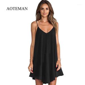 Aoteman décontracté robe d'été femmes nouveau sexy Solide Strap robe robe féminine élégante plage de fête de plage vestidos plus taille 6xl1