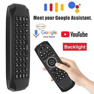 G7V Pro Google Voice Air Mouse 2.4G Wireless QWERTY Full Keyboard with Backlight IR Remote Control for Android Smart TV Box Computer Tablet