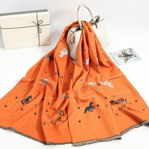 2020 Brand Winter Scarf Women Cashmere Warm Pashmina Foulard Lady Luxury Horse Scarves Thick Soft Shawls Wraps