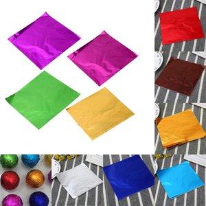 10 Colors Parti Doğum Sarıcı Folyo kağıt etiket Packaging Dozzlor 100pcs 8x8CM DIY Alüminyum Folyo Kağıt Çikolata Şekerleme