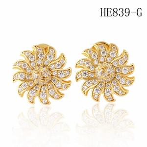 Boucles d'oreilles de concepteur de tournesol de la mode Diamond Boucles d'oreilles Femmes Gold Goudins Boucles d'oreilles Bijoux Boucles d'oreilles Fleurs