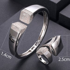 jankelly luxury Unique African Bangle Ring Set Jewelry Sets For Women Wedding Cubic Zircon Crystal CZ Dubai Bridal Jewelry Set
