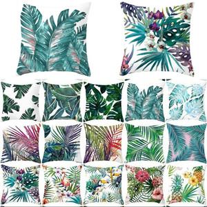 VERDE quadrado travesseiro Caso Flamingo Plantas Tropicais Luva de Almofada 45 * 45cm Sofá Sofá Bedspie Home Capas decorativas 4JZA G2