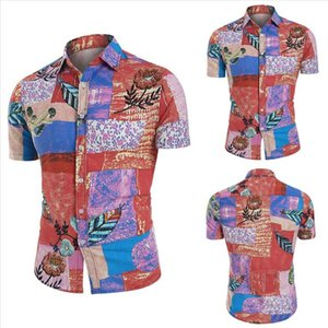 2021 Summer Vacation Casual Short Sleeve Ethnic Thin and Light Shirt Painting Turn Down Collar Shirts Colorful Linen Men 83