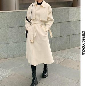 Genayooa Office дамы длинные зимние шерстяные пальто для женщин сплошные свободные верхняя одежда элегантные пальто женщин с поясом корейский стиль новый