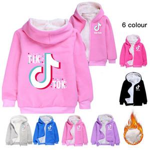 Hot Tik Tok Children's Cardigan Long Sleeve Zipper Coral Velvet Hoodies Overcoat Boy Girl Teen Kids TikTok Winter Hooded Coat Sweatshirt