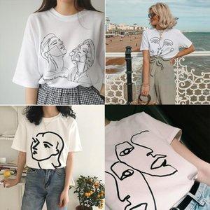 Korean Fashion Art Drawing T shirt Women Abstract Couple Graphic Tee Cute Ulzzang Henri Matisse Line Drawing Face Art T Shirt