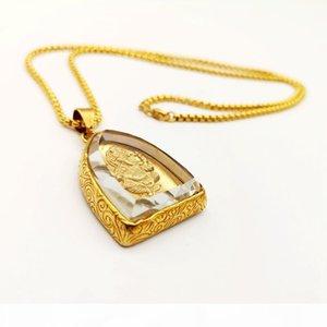 2019 Aw New Gold Color Aço Inoxidável Ganesha Pingente Colar De Vidro Cobertura Wisdom Riqueza Amuleto Ganesha Elefante Deus Colar
