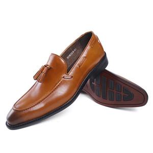 Örgün Düğün banket Elbise On FELIX MYK Klasik Erkek Loafer Gerçek Deri Kayma Erkek Flats ile Püskül # E71815-8 Ayakkabı