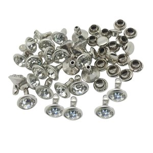 20 Sets Rhinestone Round Rivets Studs 8mm