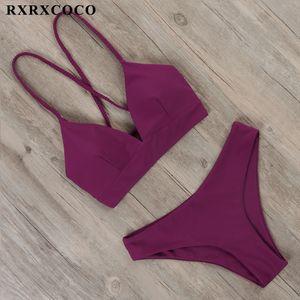 RXRXCOCO Sexy Bandage 2021 Tanga Push Up Bikini Set Mulheres Pacote Biquini Batsuit