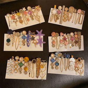 Fashion Pearl Diamond Hairpins Shining kids Girls Elegant Hair Clips Pin Crystal Barrettes Accessories Headdress Headwear HHA1612
