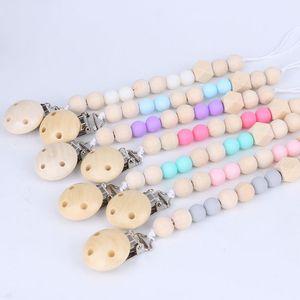 Heißer Verkaufs-Baby Holz Perlen Schnullerkette Clips mit Abdeckung handgemachter Natur Baby-Baby-Gracious Schnuller Clips Baby Clips